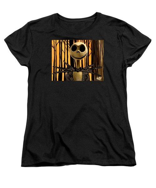 Jack Skelington Women's T-Shirt (Standard Cut) by Tom Carlton