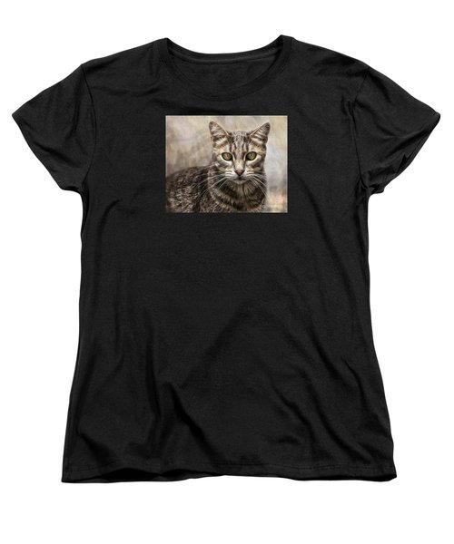 Women's T-Shirt (Standard Cut) featuring the digital art Janie's Kitty by Rhonda Strickland