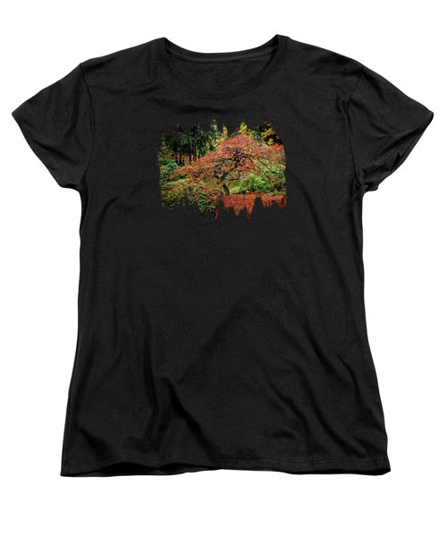 Women's T-Shirt (Standard Cut) featuring the photograph Japanese Maple At The Japanese Gardens Portland by Thom Zehrfeld