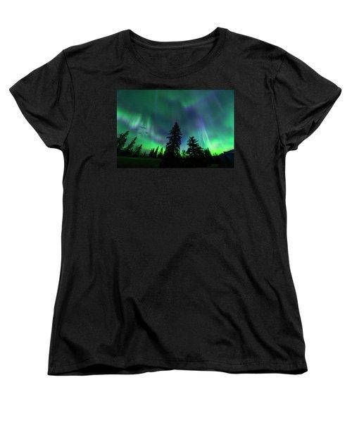 Women's T-Shirt (Standard Cut) featuring the photograph Jasper National Park Aurora by Dan Jurak