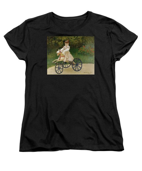Women's T-Shirt (Standard Cut) featuring the painting Jean Monet On His Hobby Horse           by Claude Monet