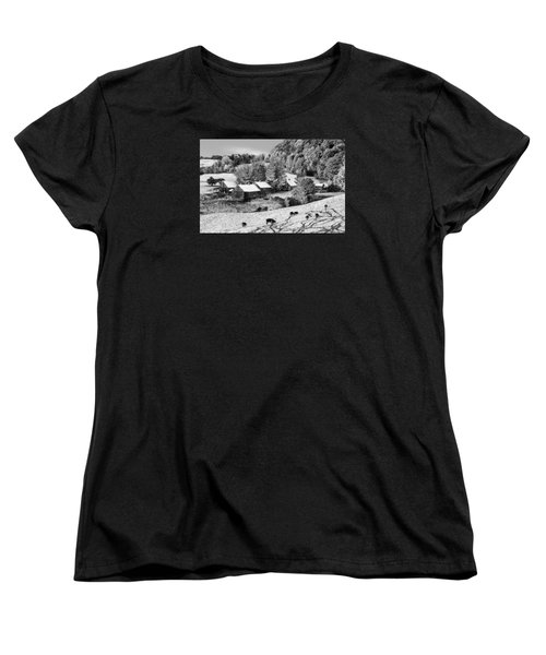 Women's T-Shirt (Standard Cut) featuring the photograph Jenne Farm In Autumn Black And White Scenic Landscape by Betty Denise