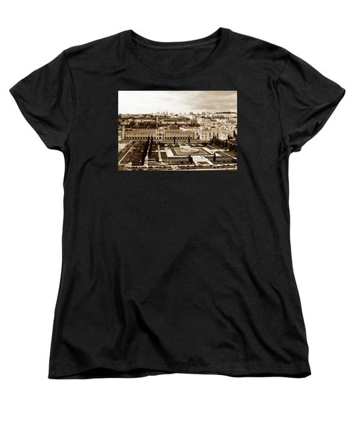 Jeronimos Monastery In Sepia Women's T-Shirt (Standard Cut) by Lorraine Devon Wilke
