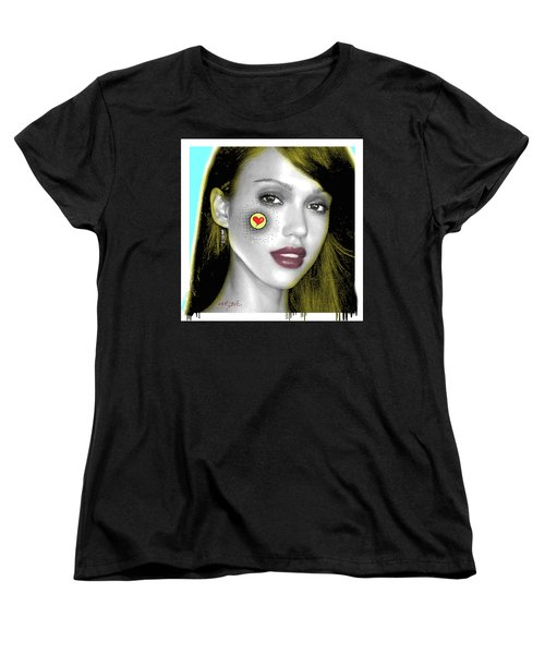 Jessica Alba Pop Art, Portrait, Contemporary Art On Canvas, Famous Celebrities Women's T-Shirt (Standard Cut)