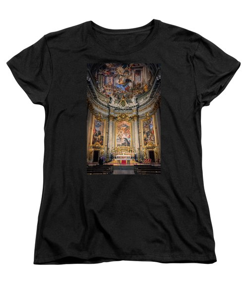 Women's T-Shirt (Standard Cut) featuring the photograph Jesuit Church Rome Italy by Joan Carroll