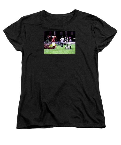 Women's T-Shirt (Standard Cut) featuring the digital art Jockeys Painting by  Newwwman