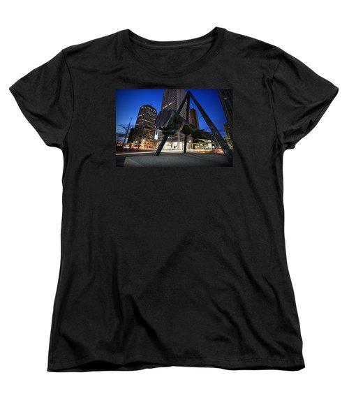 Joe Louis Fist Statue Jefferson And Woodward Ave. Detroit Michigan Women's T-Shirt (Standard Cut) by Gordon Dean II