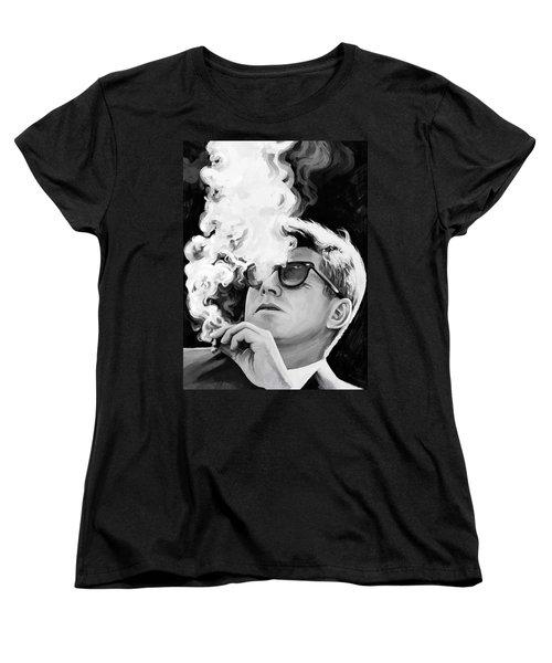 Women's T-Shirt (Standard Cut) featuring the painting John F. Kennedy Artwork 1 by Sheraz A