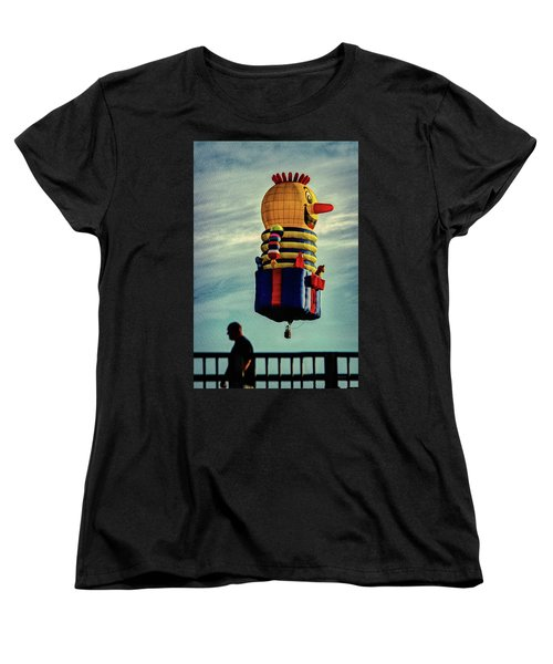 Just Passing Through  Hot Air Balloon Women's T-Shirt (Standard Cut) by Bob Orsillo