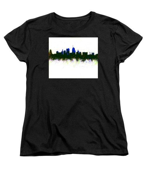 Kansas City Skyline Blue  Women's T-Shirt (Standard Cut) by Enki Art