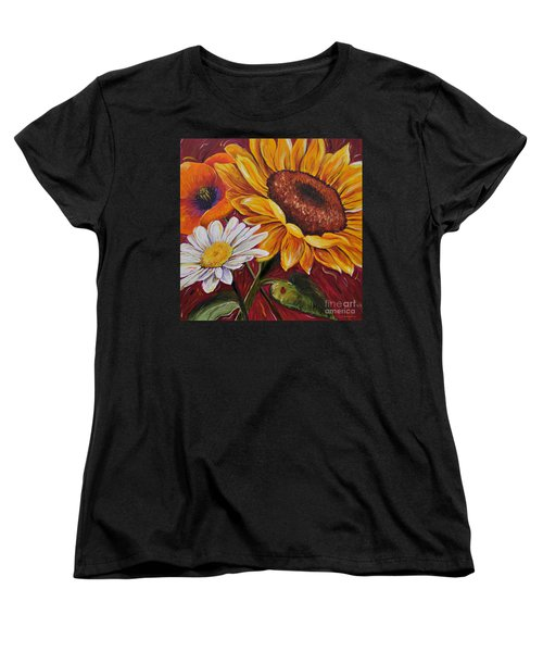 Women's T-Shirt (Standard Cut) featuring the painting Kathrin's Flowers by Lisa Fiedler Jaworski