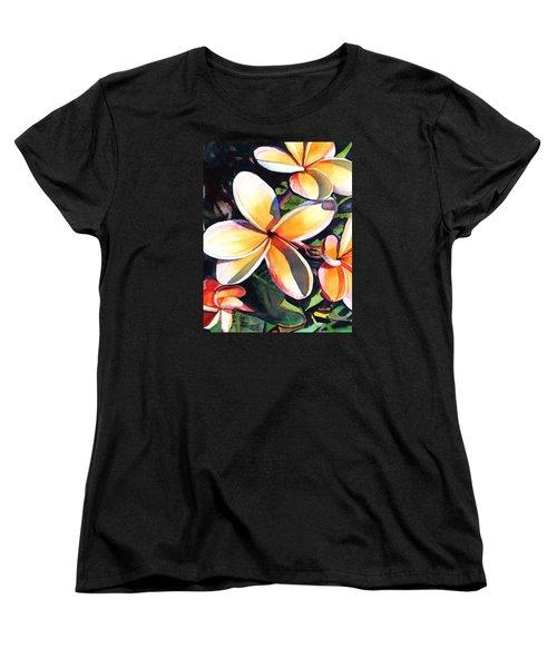 Kauai Rainbow Plumeria Women's T-Shirt (Standard Cut) by Marionette Taboniar