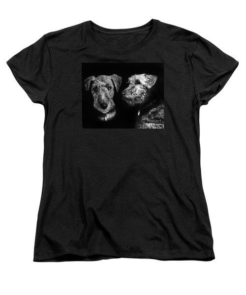 Women's T-Shirt (Standard Cut) featuring the drawing Keeper The Welsh Terrier by Peter Piatt