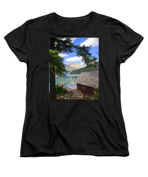 Kintla Lake Ranger Station Glacier National Park Women's T-Shirt (Standard Cut) by Marty Koch