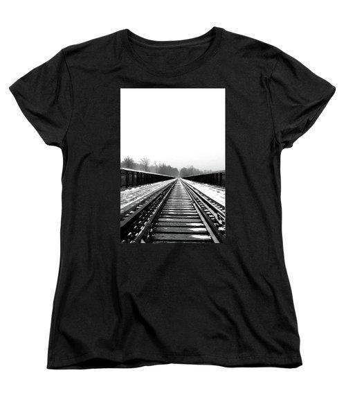 Women's T-Shirt (Standard Cut) featuring the digital art Kinzua Bridge Skywalk by Sharon Batdorf