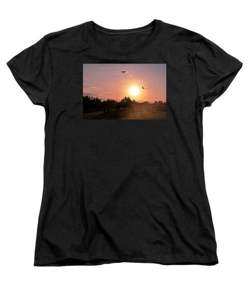 Kites Flying In Park Women's T-Shirt (Standard Cut) by Matt Harang
