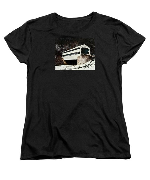 Knox Covered Bridge Historical Place Women's T-Shirt (Standard Cut) by Sally Weigand