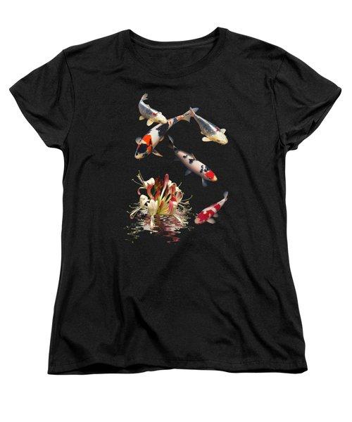 Koi With Honeysuckle Reflections Vertical Women's T-Shirt (Standard Cut) by Gill Billington