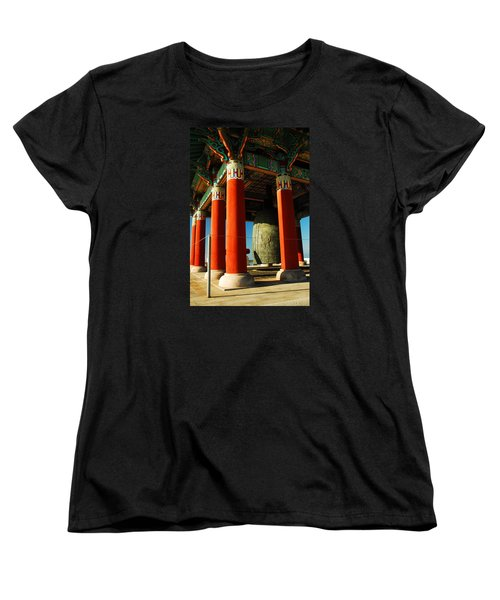 Women's T-Shirt (Standard Cut) featuring the photograph Korean Peace Bell San Pedro by James Kirkikis