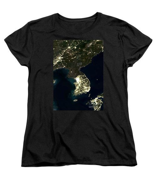 Korean Peninsula Women's T-Shirt (Standard Cut) by Planet Observer and SPL and Photo Researchers