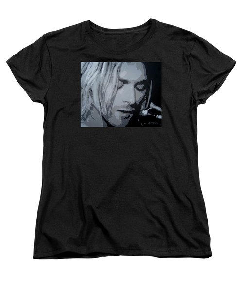 Women's T-Shirt (Standard Cut) featuring the painting Kurt Cobain by Ashley Price