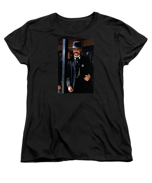 Kurt Russell As Wyatt Earp Tombstone Arizona 1993-2015 Women's T-Shirt (Standard Cut) by David Lee Guss