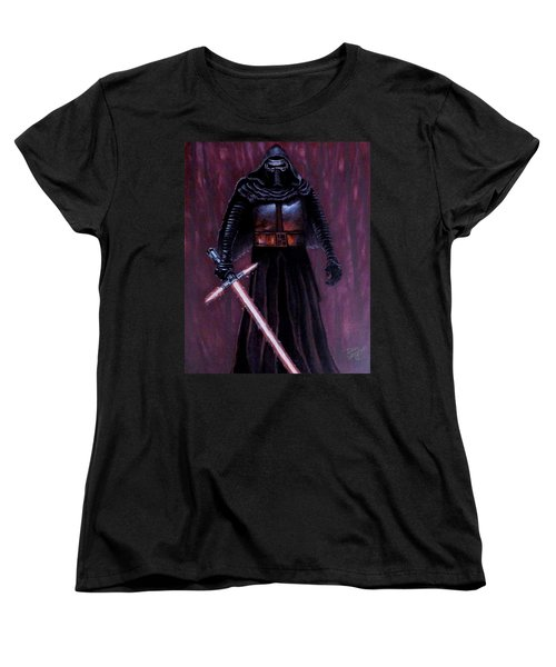 Women's T-Shirt (Standard Cut) featuring the painting Kylo In Red by Dan Wagner