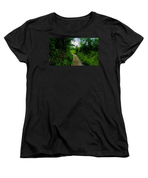 Women's T-Shirt (Standard Cut) featuring the photograph La Budde Boardwalk by Kimberly Mackowski
