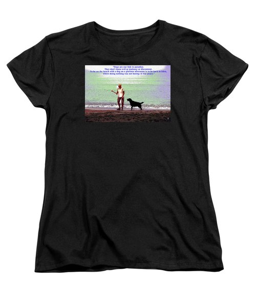 Women's T-Shirt (Standard Cut) featuring the mixed media Labrador Retriever by Charles Shoup