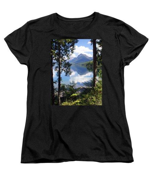 Lake Mcdlonald Through The Trees Glacier National Park Women's T-Shirt (Standard Cut) by Marty Koch