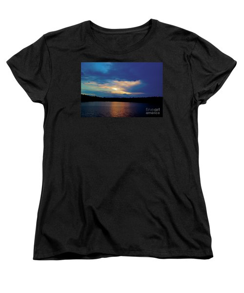 Lake Sunset Women's T-Shirt (Standard Cut) by Debra Crank