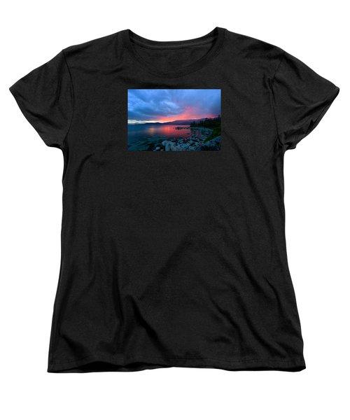 Lake Tahoe Sunset Women's T-Shirt (Standard Cut) by Sean Sarsfield