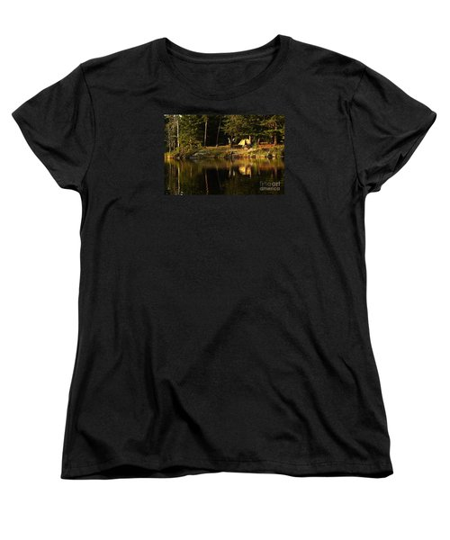 Women's T-Shirt (Standard Cut) featuring the photograph Lakeside Campsite by Larry Ricker