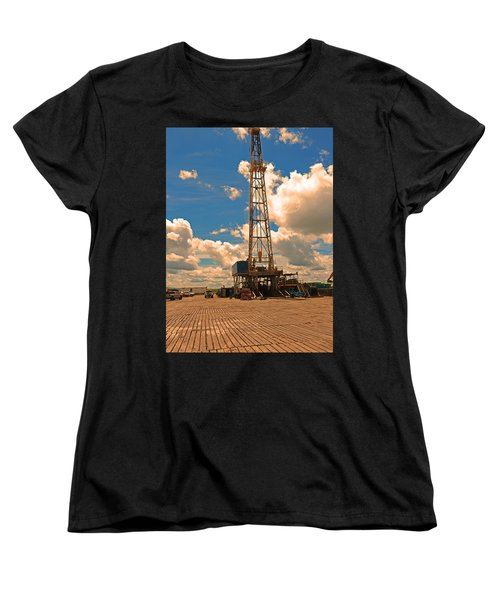 Land Oil Rig Women's T-Shirt (Standard Cut) by Ronald Olivier