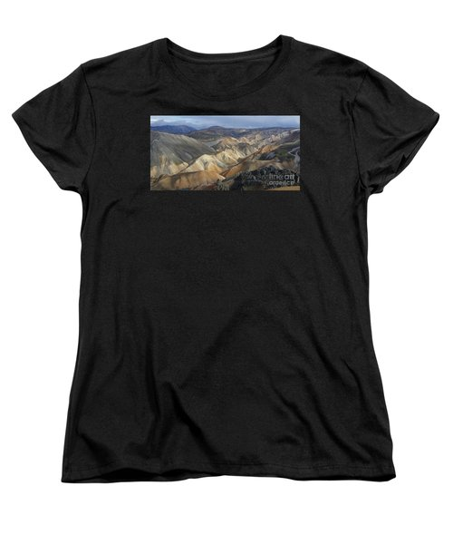 Women's T-Shirt (Standard Cut) featuring the photograph Landmannalaugar Rhyolite Mountains Iceland by Rudi Prott