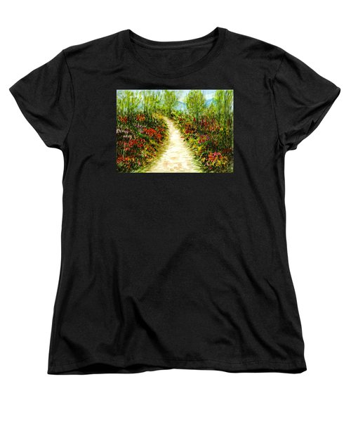 Women's T-Shirt (Standard Cut) featuring the painting Landscape by Harsh Malik
