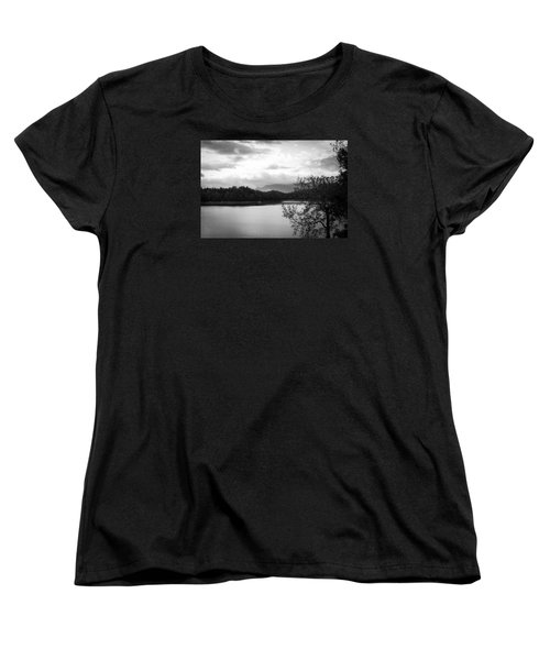 Women's T-Shirt (Standard Cut) featuring the photograph Landscape In Black And White Nantahala River Blue Ridge Mountains by Kelly Hazel
