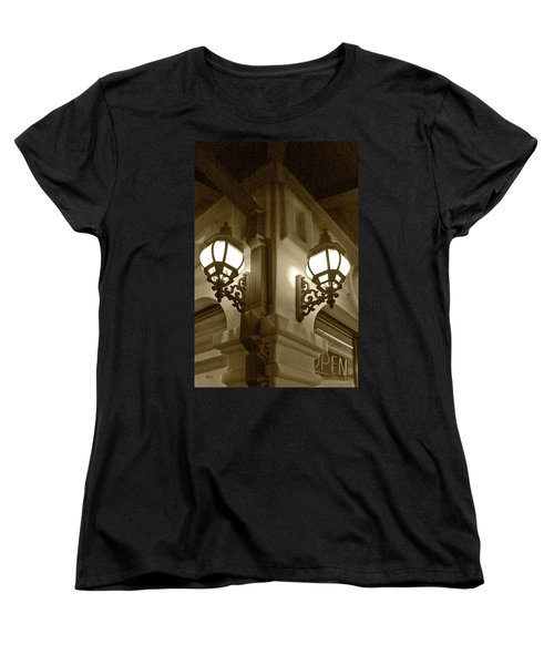 Women's T-Shirt (Standard Cut) featuring the photograph Lanterns - Night In The City - In Sepia by Ben and Raisa Gertsberg