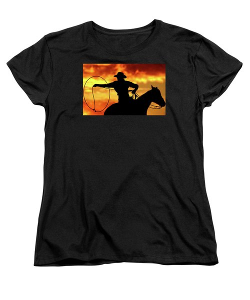 Lasso Sunset Cowboy Women's T-Shirt (Standard Fit)