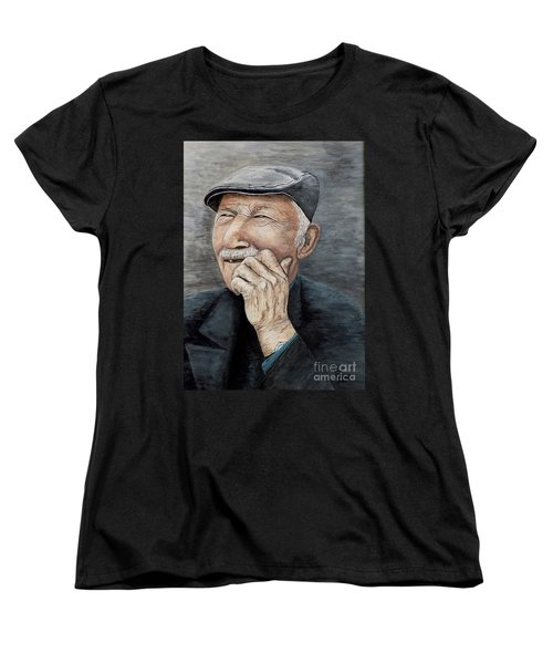 Women's T-Shirt (Standard Cut) featuring the painting Laughing Old Man by Judy Kirouac