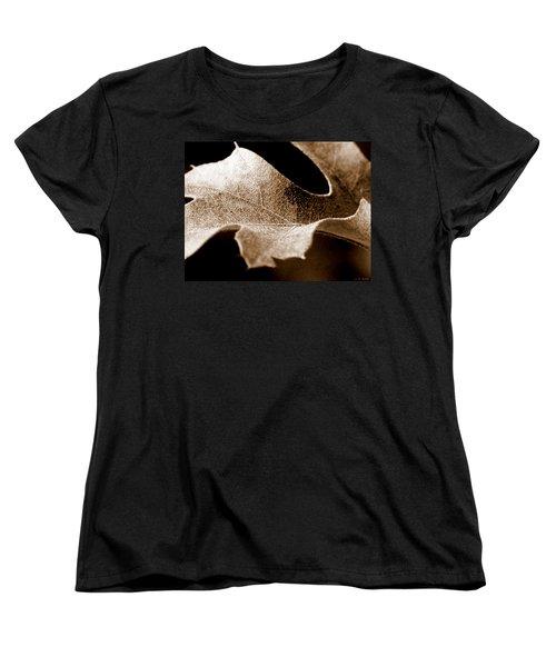 Leaf Study In Sepia Women's T-Shirt (Standard Cut) by Lauren Radke