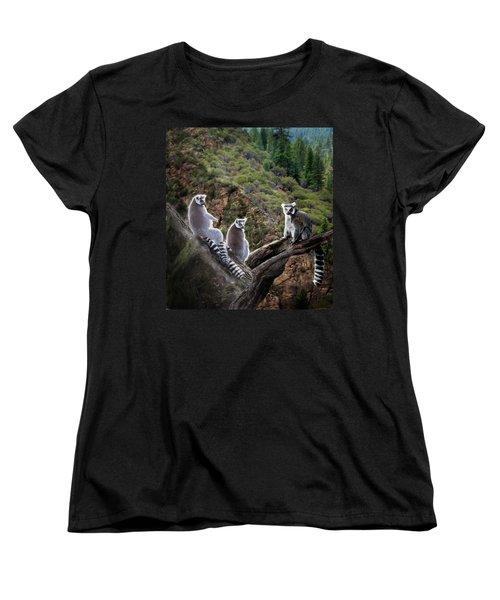Lemur Family Women's T-Shirt (Standard Cut) by Melinda Hughes-Berland