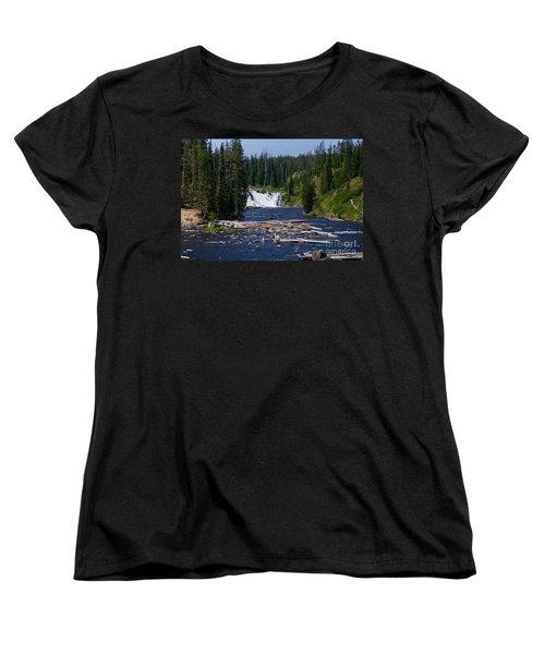 Lewis Falls Yellowstone Women's T-Shirt (Standard Cut) by Jennifer White