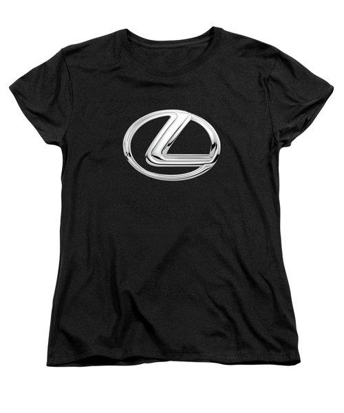Lexus - 3d Badge On Black Women's T-Shirt (Standard Cut) by Serge Averbukh