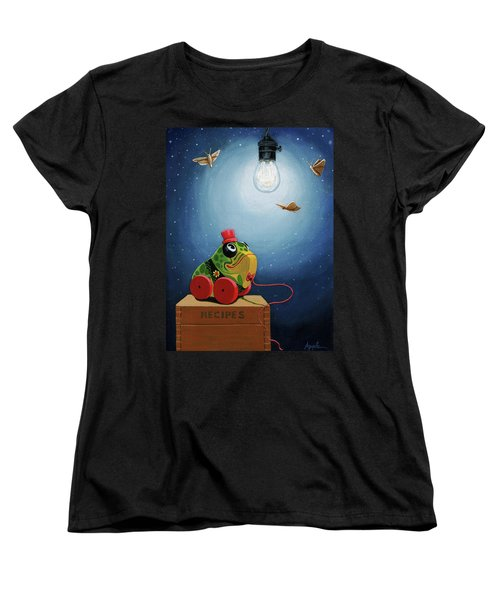 Women's T-Shirt (Standard Cut) featuring the painting Light Snacks Original Whimsical Still Life by Linda Apple
