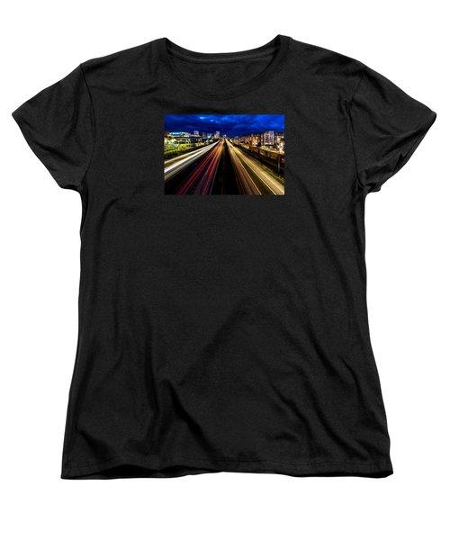 Women's T-Shirt (Standard Cut) featuring the photograph Light Streaks On 705 by Rob Green