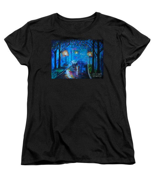 Women's T-Shirt (Standard Cut) featuring the painting Lighted Parkway by Leslie Allen