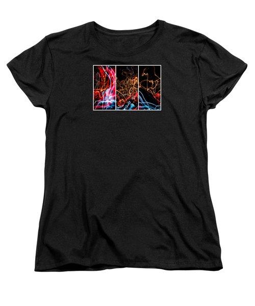 Lightpainting Triptych Wall Art Print Photograph 5 Women's T-Shirt (Standard Cut) by John Williams