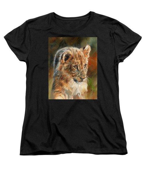 Lion Cub Portrait Women's T-Shirt (Standard Cut) by David Stribbling