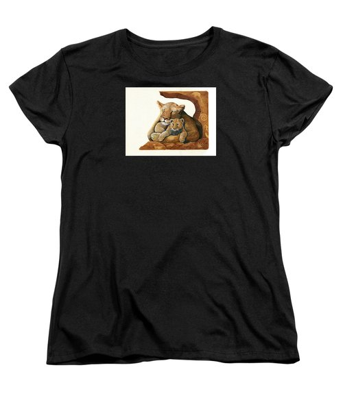 Women's T-Shirt (Standard Cut) featuring the painting Lion - Protect Our Children Painting by Linda Apple